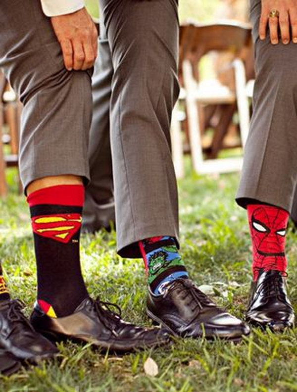 Super Hero Socks for Groomsmen. Let your groom bring his love of superheros to the wedding and gifted his groomsmen with superhero socks for the big day.