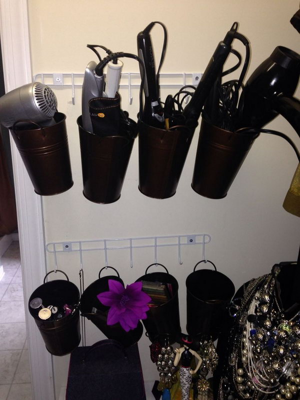 Hair Dryer Curling Iron Organizer Part - 32: Hang The Metal Buckets On The Wall To Organize Hair Dryers And Curling