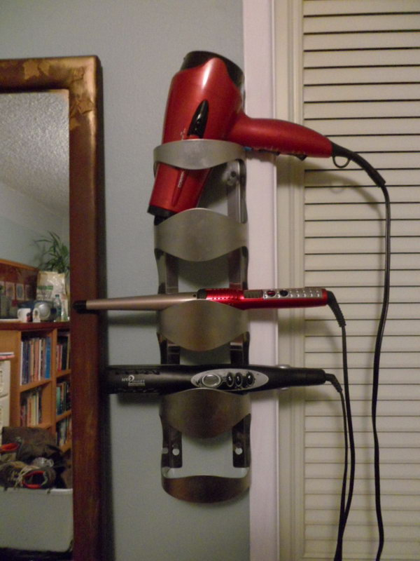 Wine Bottle Hair Dryer Organizer. Turn your old wine bottle holder into a useful hot tools storage.