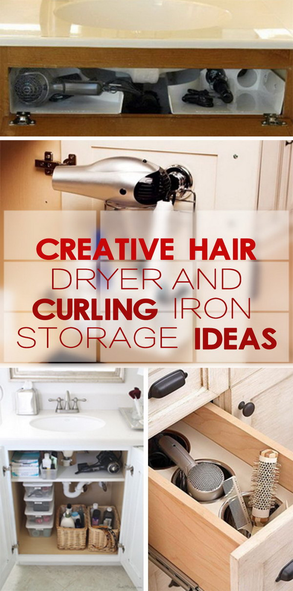 Charmant Creative Hair Dryer And Curling Iron Storage Ideas!