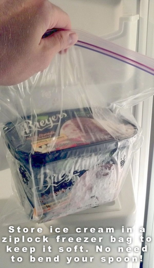 Store ice cream in a bag so that your ice cream won't rock hard.