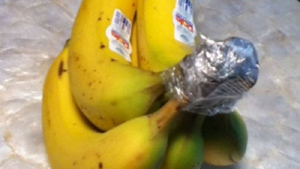 Wrap the ends of bananas in plastic wrap. It will keep them fresh longer.