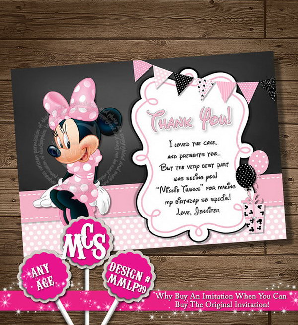 It's time to say goodbye to all your guests, try expressing your thanks with these Minnie muse personalized thank you card. They will be happy to see this it with adorable Mickey mouse head. http://hative.com/cute-minnie-mouse-party-ideas-for-kids/