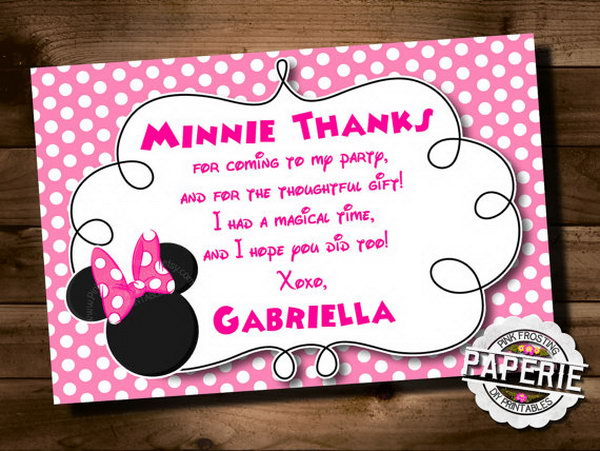 All guest are important to celebrate such an exquisite Minnie mouse themed party. A creative Minnie mouse invitation card is very necessary. http://hative.com/cute-minnie-mouse-party-ideas-for-kids/