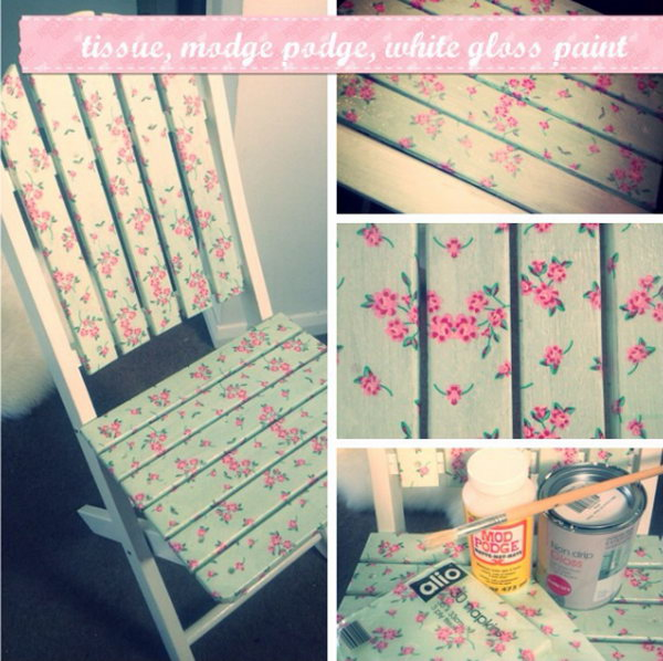 Upcycle old wooden furniture using paper napkins and mod podge.