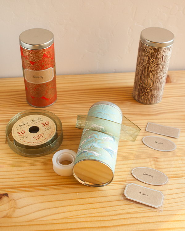 DIY Japanese Washi Tea Tins. A clever way to decorate your old tea tins with Mod Podge. Fill them with lovely teas, cookies, sugars, or other small items. They would make unique and classy gifts.