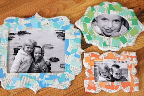 Torn Paper Decoupage Frames. Decorate picture frames with torn paper and Mod Podge for colors of the rainbow, with different shapes.