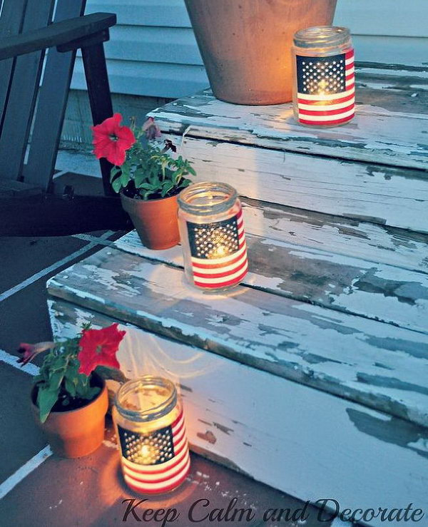 Easy Patriotic Luminaries. Great idea, and so easy and inexpensive. They look so pretty at night.