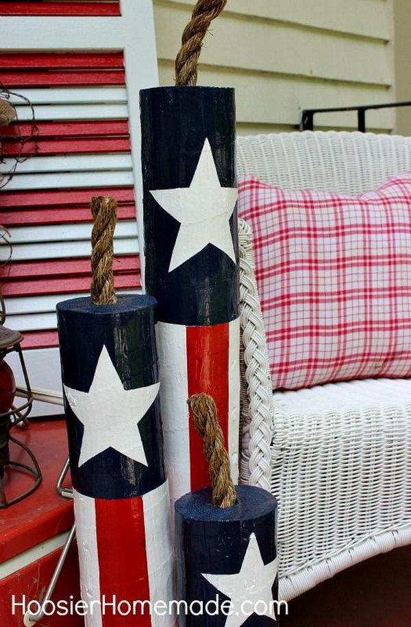 DIY Wooden Firecrackers for Patriotic Decoration.