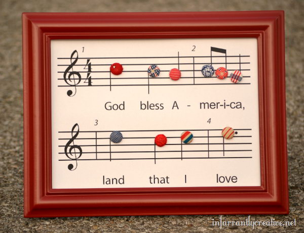Patriotic Craft: God Bless America Printable. Music chart of God Bless America with fabric covered buttons. What a cool patriotic project idea.