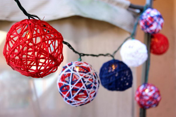 Patriotic Red, White and Blue Yarn String Lights. These DIY globes made of yarn are so fun to assemble. Besides being festive string light covers, these yarn globes make great garlands, or can simply be displayed in a bowl as a table decoration.
