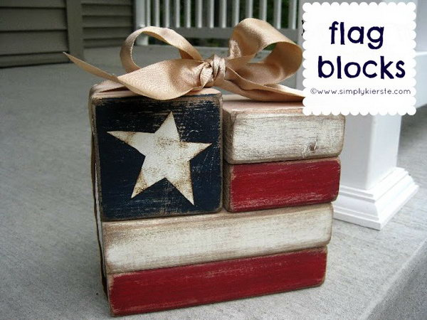 Flag Blocks. Made from painted wood blocks, this is an easy patriotic project.