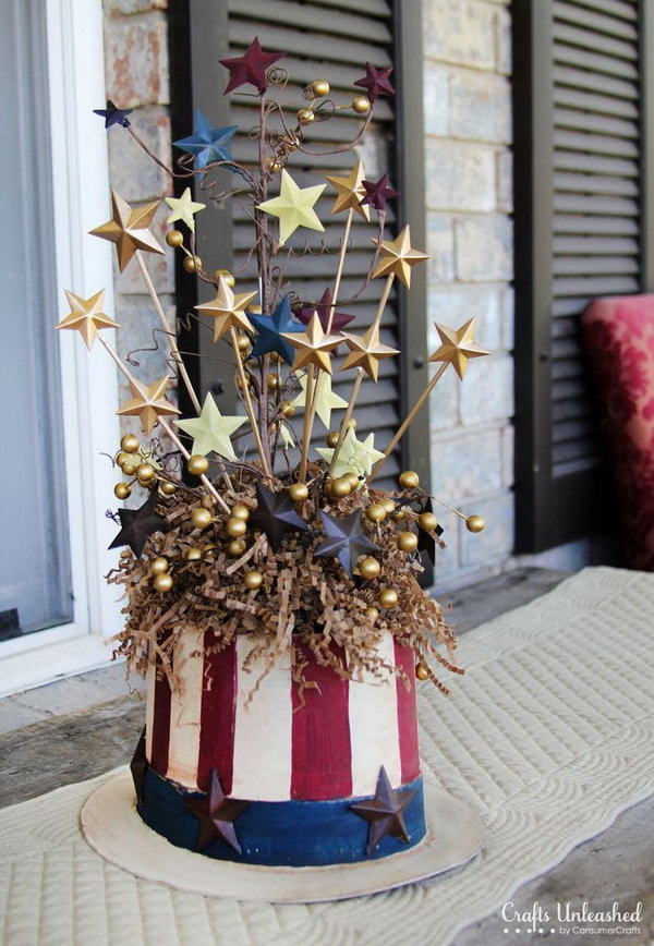 Uncle Sam Centerpiece. Use the paper mache top hat and other decorating elements to create an Uncle Sam centerpiece for 4th of July.