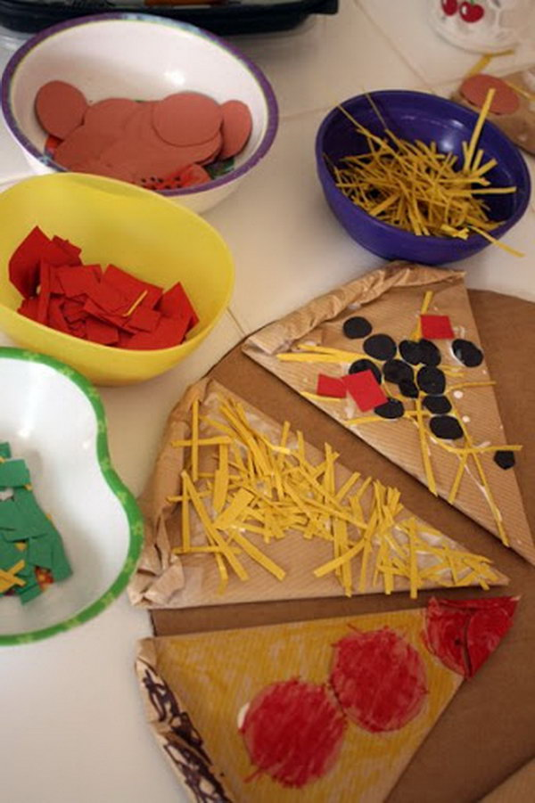 Cardboard Pizza. This pretend play pizza project has so many possibilities for learning as you play: language, writing, math, imagination, sensory and lots of fun.