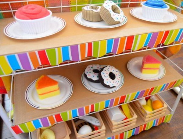 Cardboard Cafe. A great pretend play set up for store or restaurant which were always among kids' favorites.