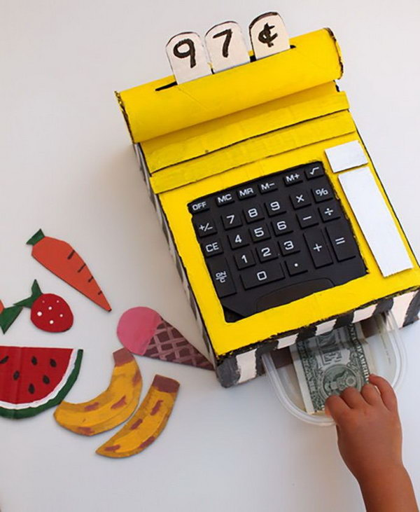 DIY Cardboard Cash Register. Does Your Child Enjoy Going To The Grocery  Store And Watching