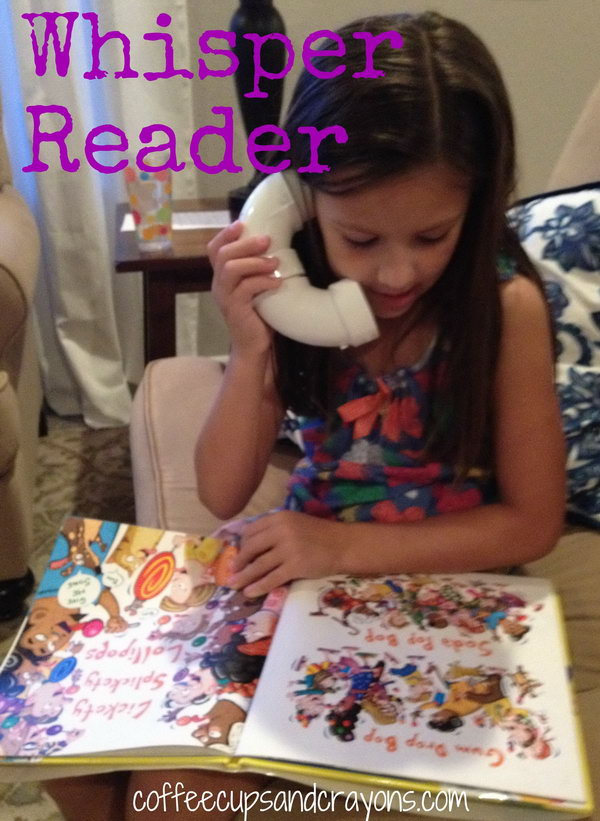 DIY PVC Pipe Whisper Phone. A whisper reader is like a little phone kids can whisper read into and hear their words amplified in their ears. It is a great way to build fluency and it lots of fun to use.