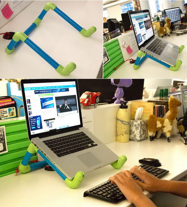 Colorful DIY PVC Pipe Laptop Stand. Bad computing posture can seriously hurt you. This colorful DIY laptop stand is a fun project that will also improve your posture.