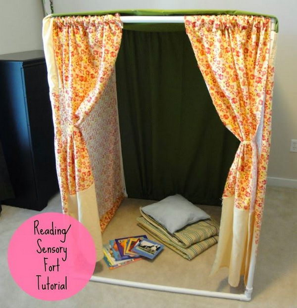 DIY PVC Pipe Reading Nook or Play House for Kids.
