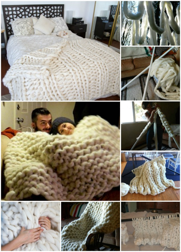What an awesome PVC piping knitting project. This gigantic blanket must be very cozy.
