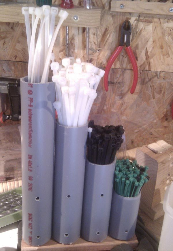 Clever Cable Tie Organizer Made from PVC Pipe. http://hative.com/diy-pvc-pipe-storage-ideas/