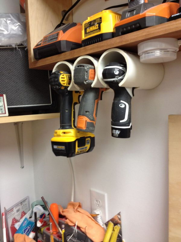 PVC Drill Holder. Got tired of losing your drills or power tools in the garage? PVC pipes can solve that problem. http://hative.com/diy-pvc-pipe-storage-ideas/