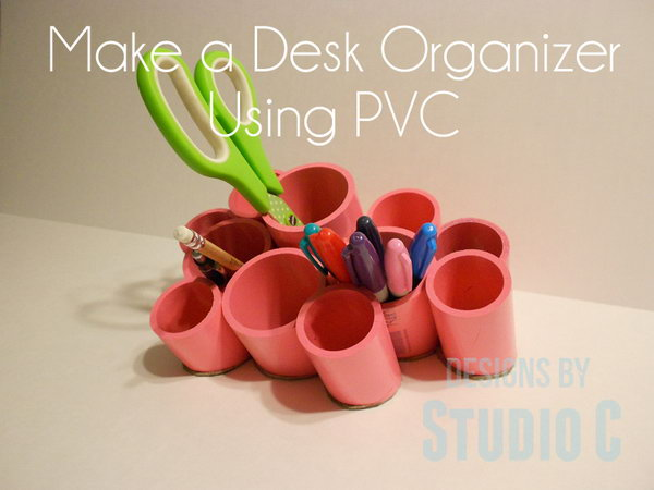 PVC Desk Organizing Cups. A cute storage idea that can be made for very little money. Keep your office supplies handy with this simple organizer. http://hative.com/diy-pvc-pipe-storage-ideas/