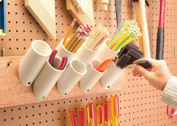 PVC Pipes Storage Pockets for Skinny Things. Screw PVC pipes to a board to hold paint brushes, pencils, stir sticks. A great idea for a number of organizational needs: in the garage, the office, or for your craft space. http://hative.com/diy-pvc-pipe-storage-ideas/
