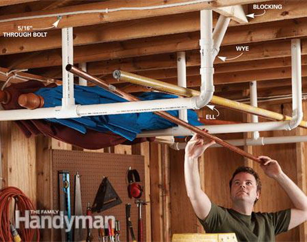 Overhead garage storage. Mount the PVC pipes on the ceiling for keeping long items. A great way to keep your garage open and free of clutter.