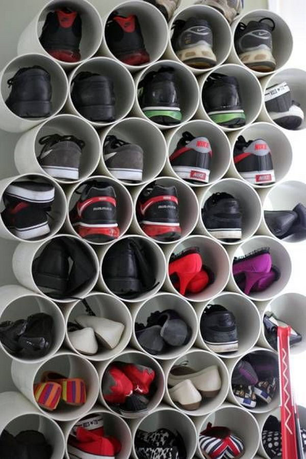 Stacked PVC Pipe Shoe Storage. Find pipes that are just the right size for your shoe collection, cut them down to shoe length and stack together using pipe glue. It's an endlessly customizable shoe rack—and you can always add to it as your collection grows. http://hative.com/diy-pvc-pipe-storage-ideas/