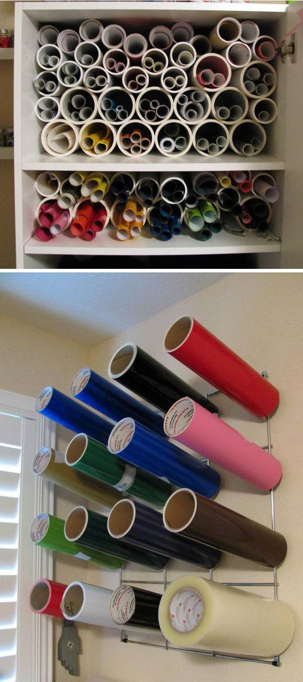Cut PVC pipe to hold vinyl and paper rolls. This is a cheap and easy way to store vinyl and wrapping paper to keep it from getting wrinkled or damaged. http://hative.com/diy-pvc-pipe-storage-ideas/