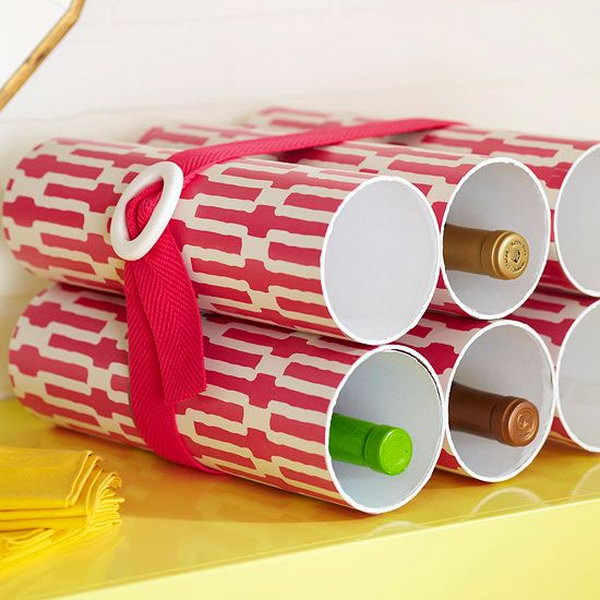 Make a stylish wine bottle rack out of PVC pipes. http://hative.com/diy-pvc-pipe-storage-ideas/