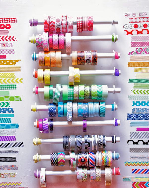 PVC Pipe Washi Tape Organizer. http://hative.com/diy-pvc-pipe-storage-ideas/