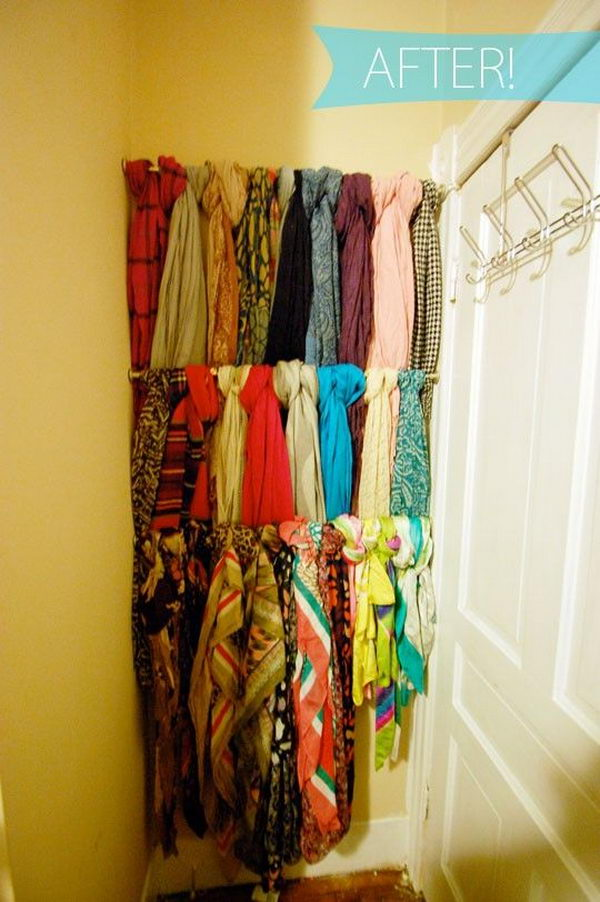 Creative Scarf Storage and Display Ideas. Scarves are not only useful accessories that can be used for warmth against the winter chill. They are also a style statement for scarf fanciers when stored and displayed cleverly.
