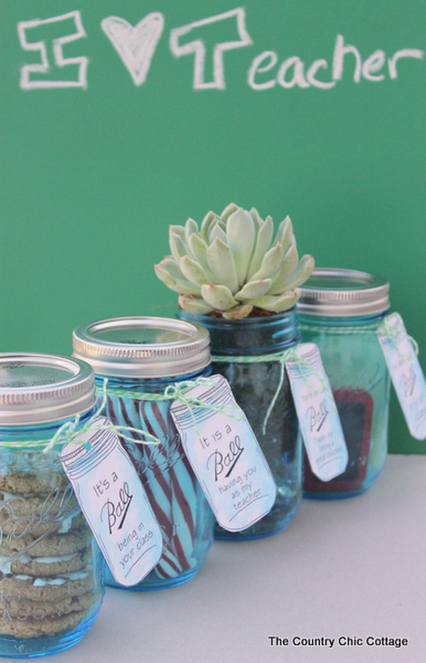 Mason Jars. Just buy a few pretty jars and put your gifts like cookies, candies or school supplies in the jar. Then tie some fun lables to the jars and you get beautiful presents to thank your teachers.