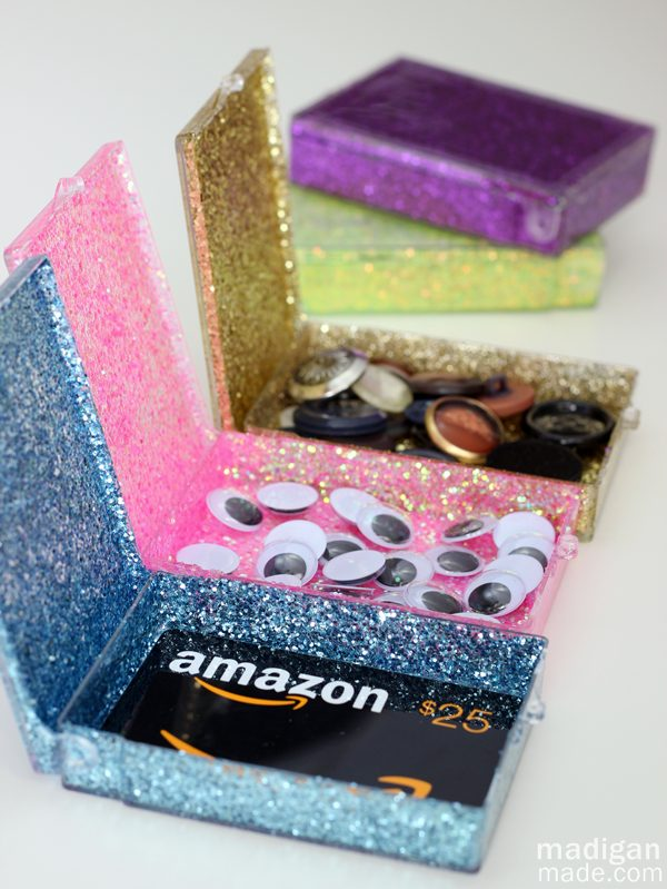 Upcycled Glitter Storage Boxes. Making those handmade objects needs large amount of patience and is a time comsuming job. But this beautiful gift can totally express your appreciation for the teachers' help.