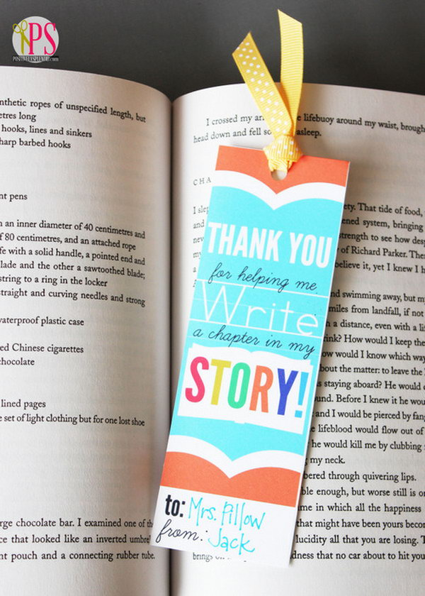 Printable Teacher Appreciation Bookmark. This little item is a sweet and useful gift. Unlike other objects, this type of present lasts for long. After many years, your teacher can still feel your appreciation when he see the bookmark gift.