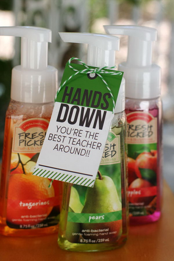 Hand Sanitizer. This is a simple and considerate present. You just need to buy some hand sanitizer and add the cool tags which make the gift more beautiful and personal.