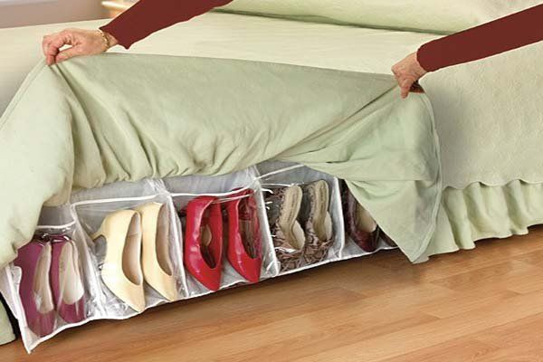 Bed Skirt Shoe Organizer. Free up valuable space in your bedroom with this innovative bed skirt organizer. It's a very clever shoe storage idea for small bedroom. The bed skirt completely covers shoe organizer and make it well hidden but still have easy access.