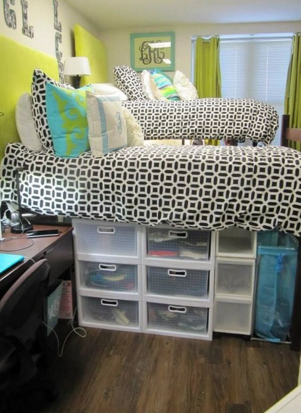 Creative under bed storage ideas for bedroom hative - College dorm storage ideas ...
