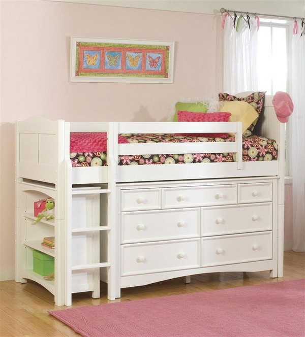 Maximize space with the bookcase and Wakefield 7 drawer dresser under the loft style bed. A cute bedroom storage idea for kids.