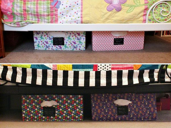 DIY Under Bed Storage Bins. Make some under bed storage bins from cardboard boxex and colorful duct tape. It is a great DIY solution for kids' room if you've got moving boxes leftover from a move or have found some.