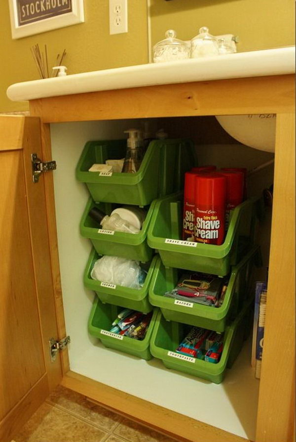 Kitchen Sink Storage #34: Under Sink Storage Ideas. Stacking Plastic Bins Under Bathroom Cabinet. These Stacking Containers From The Dollar Tree Stack Vertically