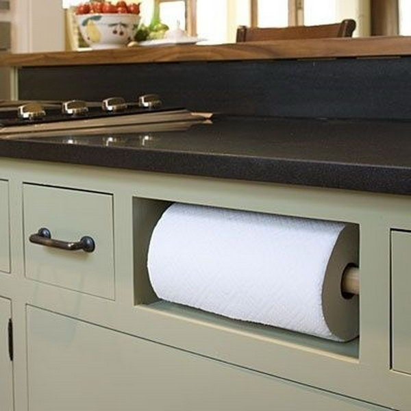 Remove Your Fake Drawer In Sink Cabinet And Turn It Into A Paper Towel Holder