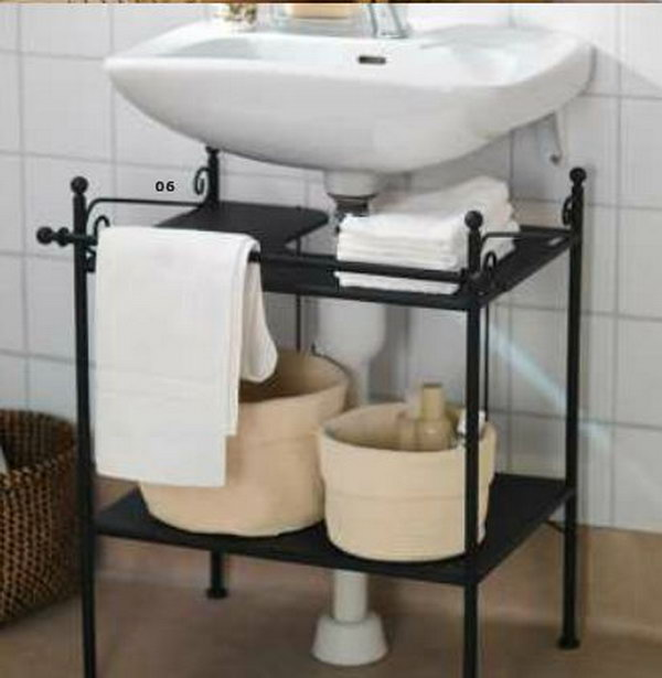 Under Sink Storage For Pedestal Sink : pedestal sink or the pipe of a wall mounted sink It squeezes estra