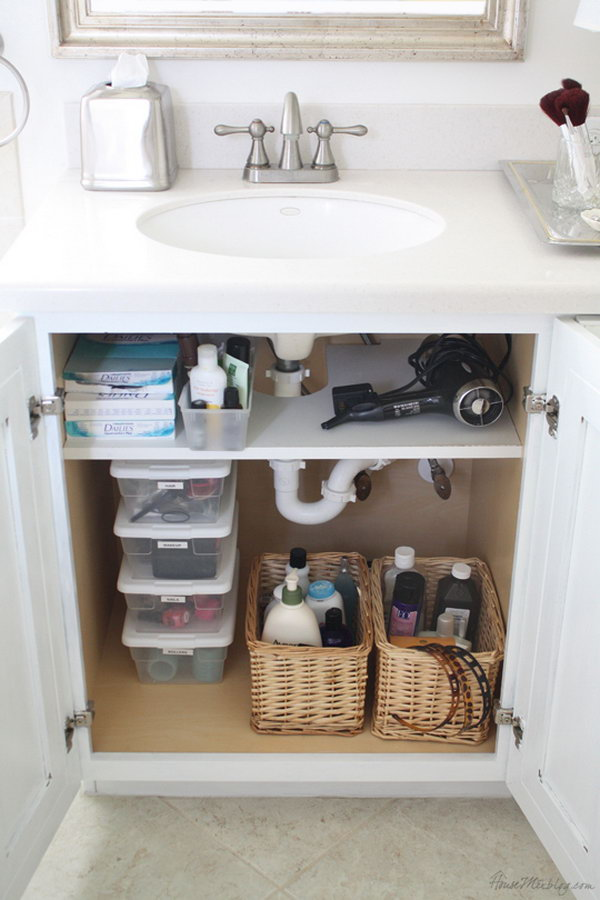 Creative under sink storage ideas hative for Bathroom cabinet organizer ideas