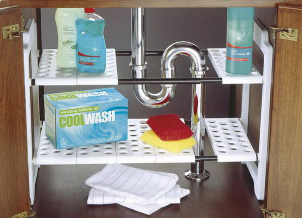under bathroom sink shelf creative sink storage ideas hative 21099