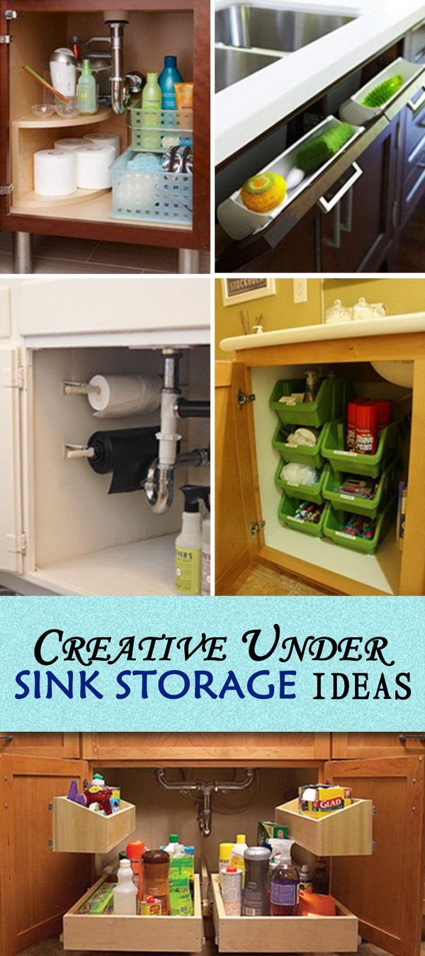 Under Kitchen Sink Organizing Creative Under Sink Storage Ideas Hative