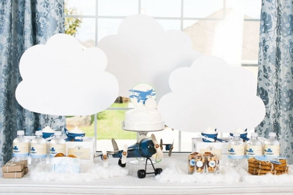 Vintage plane themed birthday parties are popular for boys. This party is built upon a blue and white color scheme that gives the party very clean and friendly look.
