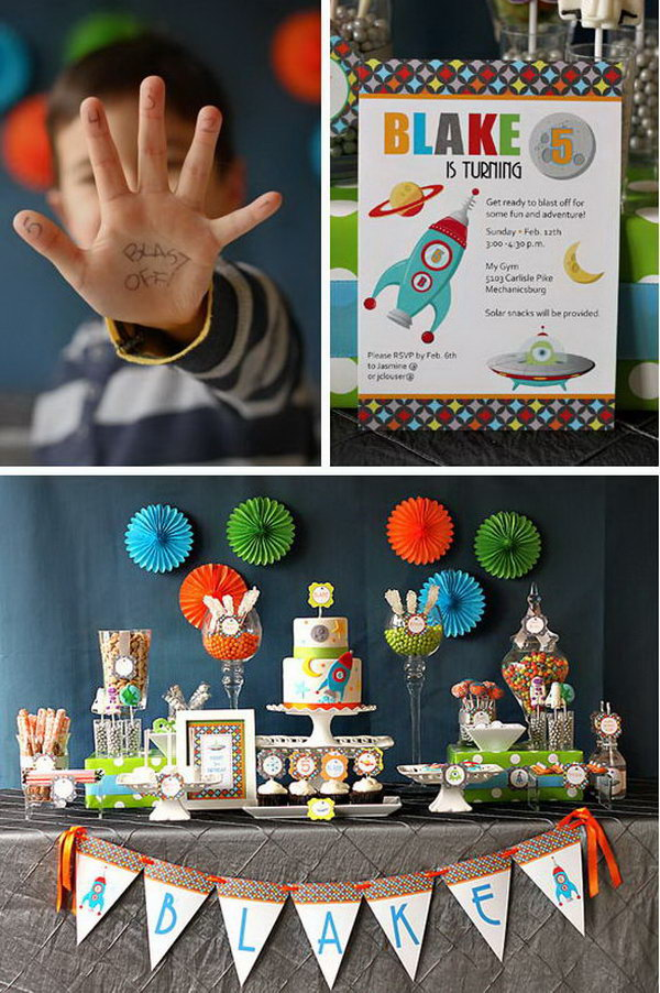 This rocket themed birthday party is building upon a grey, orange, lime green and blue color scheme. I love the charming cake, cupcakes and cookies to match!